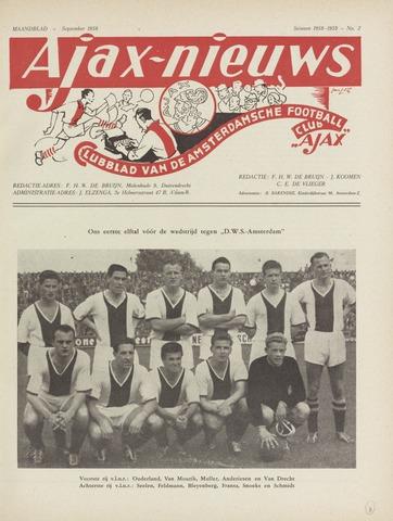 Clubnieuws Ajax (vanaf 1916) 1958-09-01