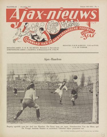 Clubnieuws Ajax (vanaf 1916) 1953-12-01