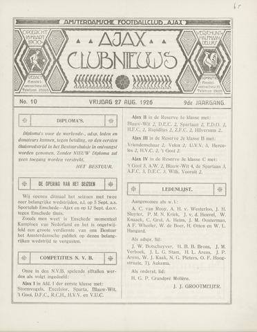 Clubnieuws Ajax (vanaf 1916) 1926-08-27
