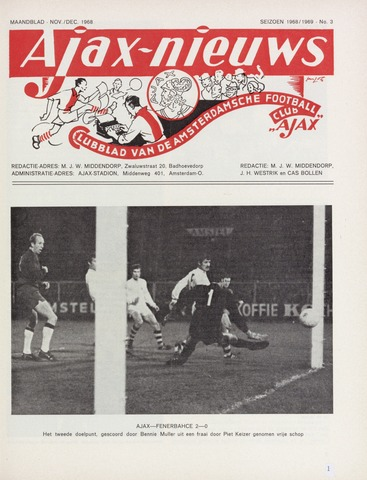 Clubnieuws Ajax (vanaf 1916) 1968-11-01
