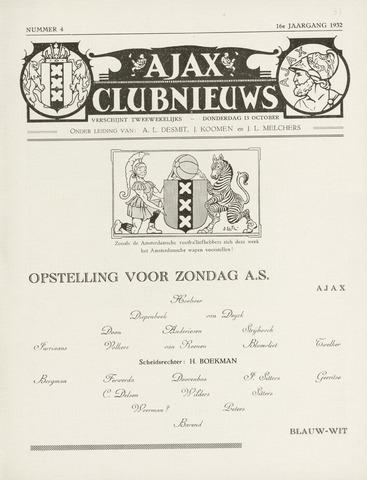 Clubnieuws Ajax (vanaf 1916) 1932-10-13