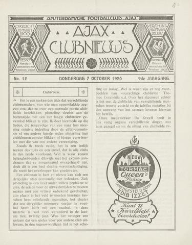 Clubnieuws Ajax (vanaf 1916) 1926-10-07