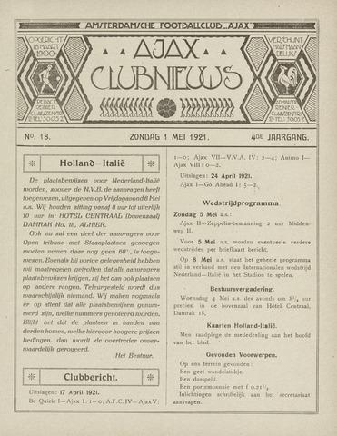 Clubnieuws Ajax (vanaf 1916) 1921-05-01