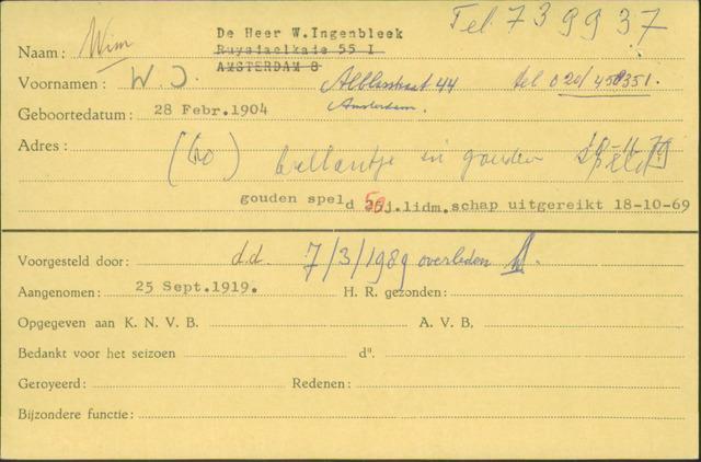 Ledenkaarten (1911-1989) 1919