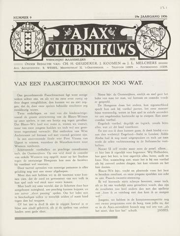 Clubnieuws Ajax (vanaf 1916) 1936-05-01