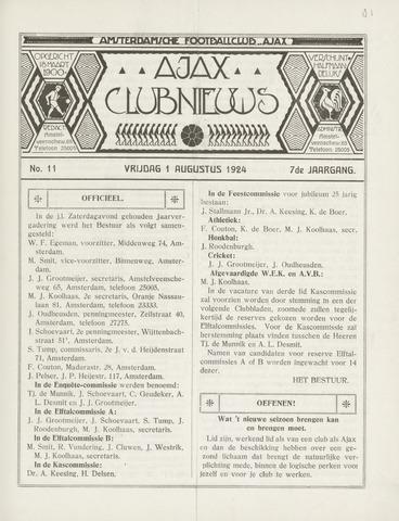Clubnieuws Ajax (vanaf 1916) 1924-08-01