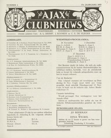 Clubnieuws Ajax (vanaf 1916) 1933-11-02
