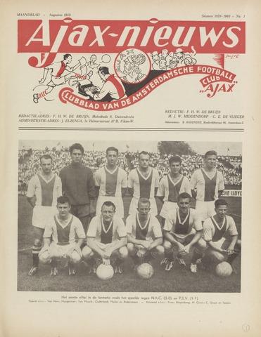 Clubnieuws Ajax (vanaf 1916) 1959-08-01