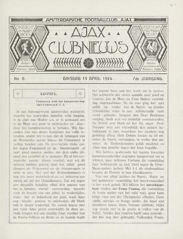Clubnieuws Ajax (vanaf 1916) 1924-04-15