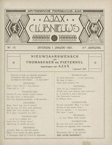 Clubnieuws Ajax (vanaf 1916) 1921-01-01