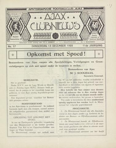Clubnieuws Ajax (vanaf 1916) 1928-12-13