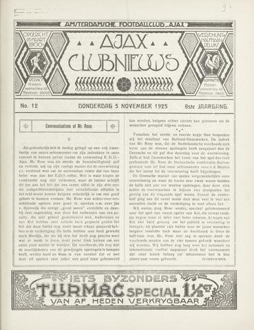Clubnieuws Ajax (vanaf 1916) 1925-11-05