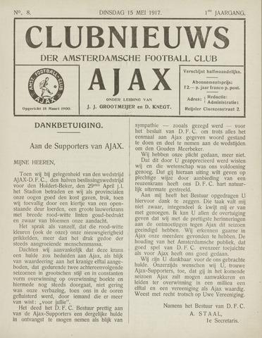 Clubnieuws Ajax (vanaf 1916) 1917-05-03