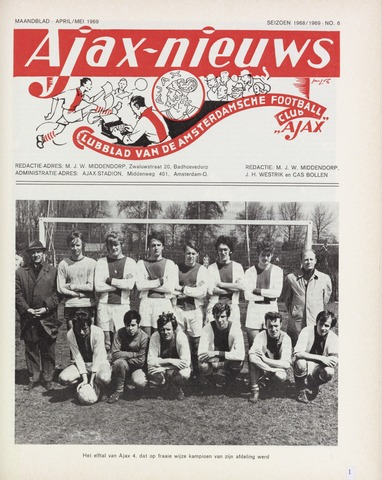 Clubnieuws Ajax (vanaf 1916) 1969-04-01