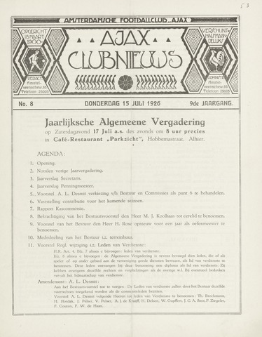 Clubnieuws Ajax (vanaf 1916) 1926-07-15