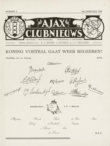 Clubnieuws Ajax (vanaf 1916) 1932-09-15
