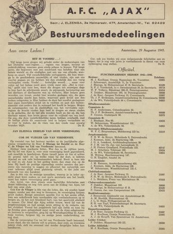 Clubnieuws Ajax (vanaf 1916) 1945