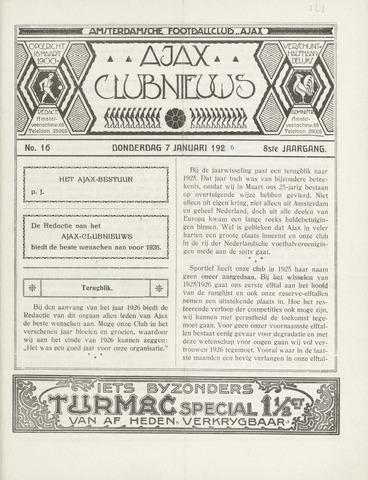 Clubnieuws Ajax (vanaf 1916) 1926-01-01