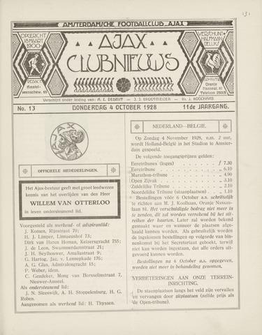 Clubnieuws Ajax (vanaf 1916) 1928-10-04
