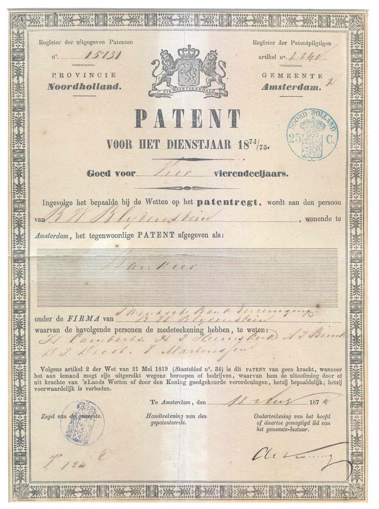 Patent voor de uitoefening van het beroep bankier