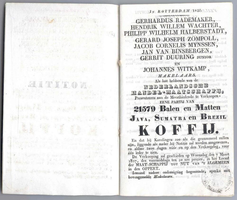 Veilingboekje koffie Nederlandsche Handel-Maatschappij