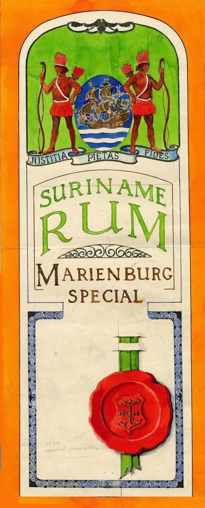 Ontwerp voor een etiket op de flessen rum van Mariënburg