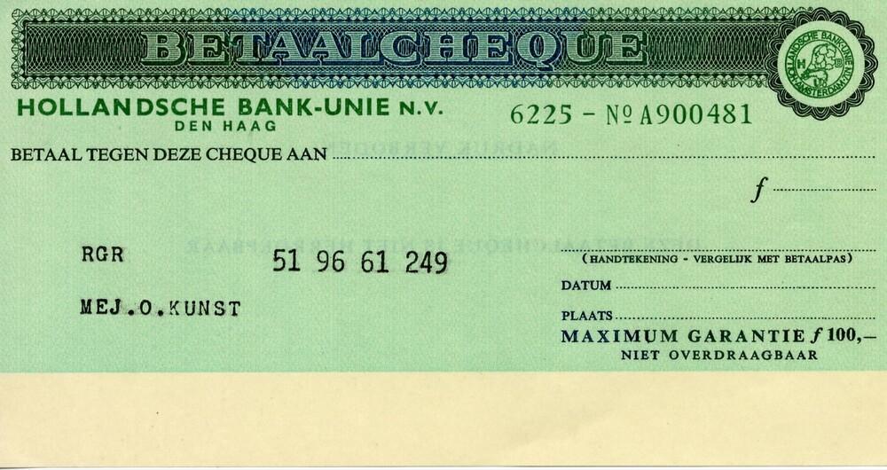 Betaalcheque Hollandsche Bank-Unie