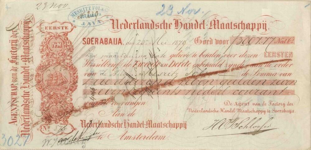 Wisselbrief uitgegeven door de Nederlandsche Handel-Maatschappij in Soerabaya