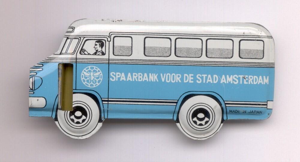 Fluitje in de vorm van een rijdend bijkantoor van de Spaarbank voor de Stad Amsterdam