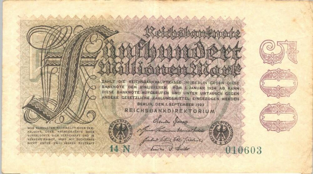 Bankbiljet van 500 miljoen Reichsmark