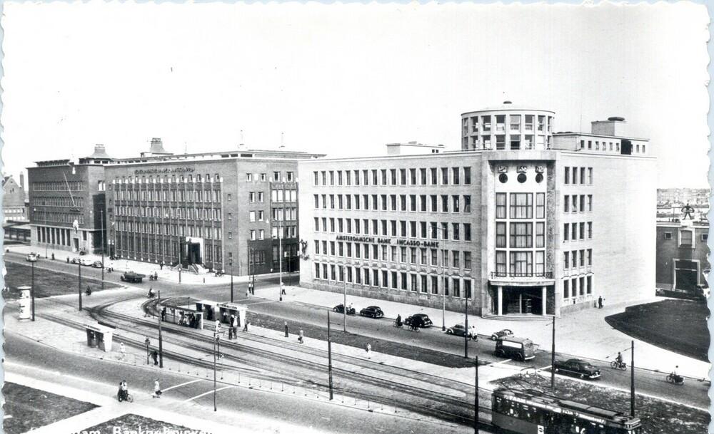 Rotterdam, bankgebouwen aan de Blaak: v.l.n.r. Twentsche Bank, Nederlandsche Handel-Maatschappij en Amsterdamsche Bank / Incasso-Bank