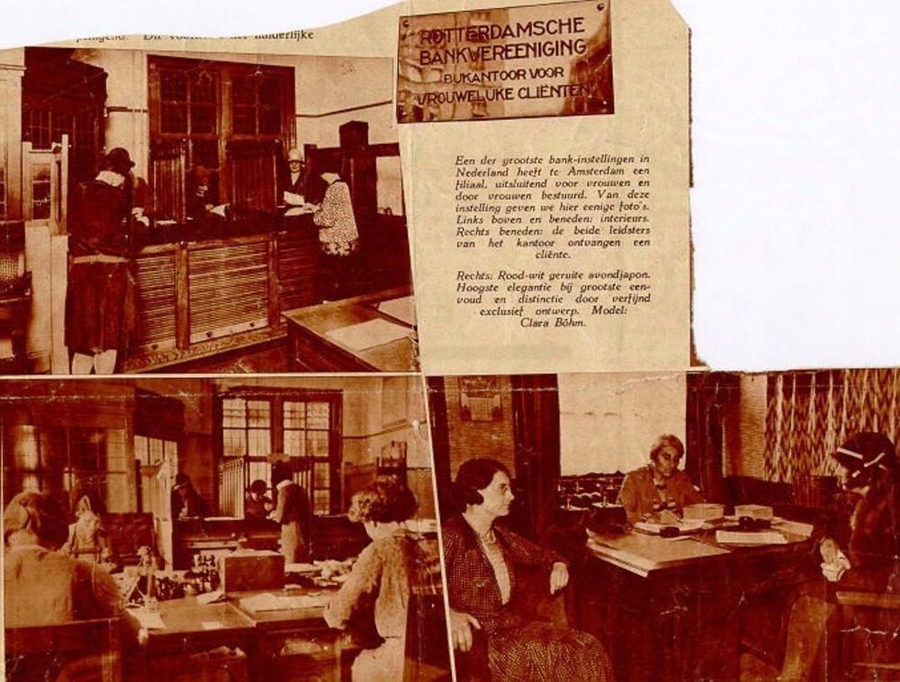 Vrouwenbank, Rokin 23-27 te Amsterdam: krantenknipsel