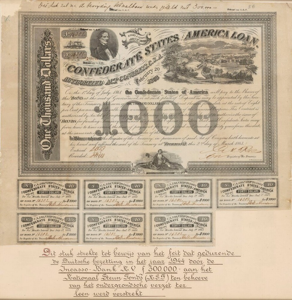 Confederate States of America Loan  /  Incasso-Bank (oorlogseffect)