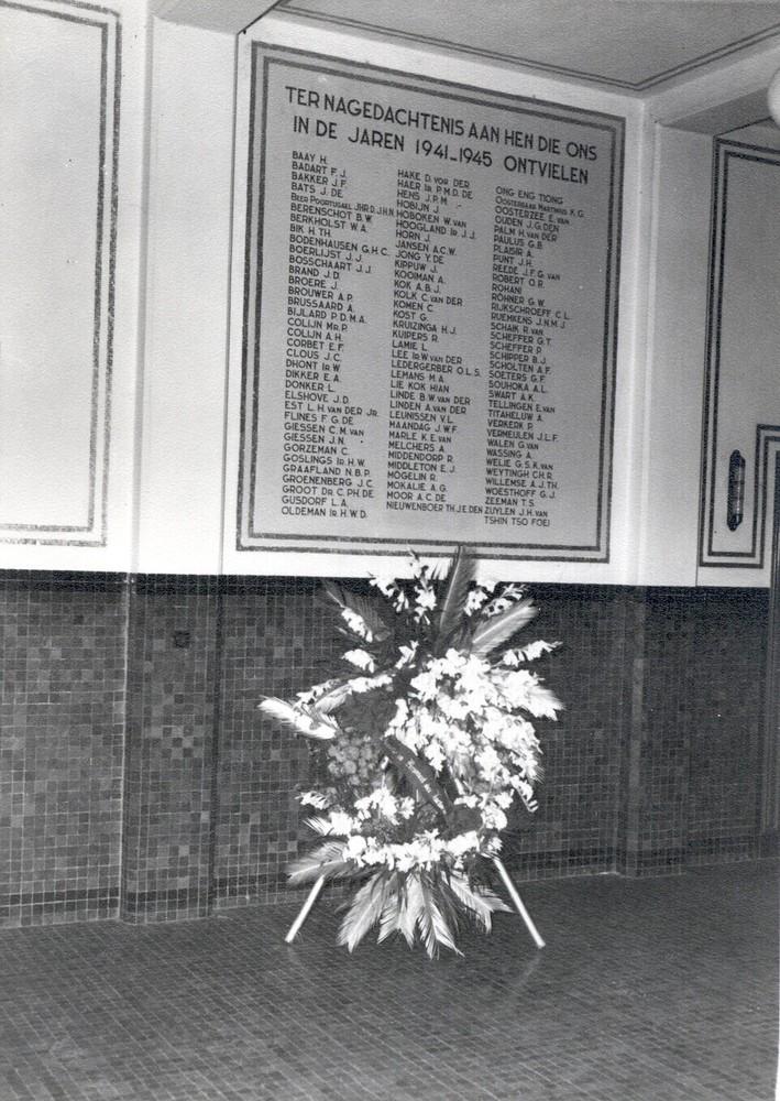 Gedenkteken voor de slachtoffers onder het personeel van de Factorij van de NHM in Nederlands-Indië gedurende in de Tweede Wereldoorlog, plaquette, monument, herinnering