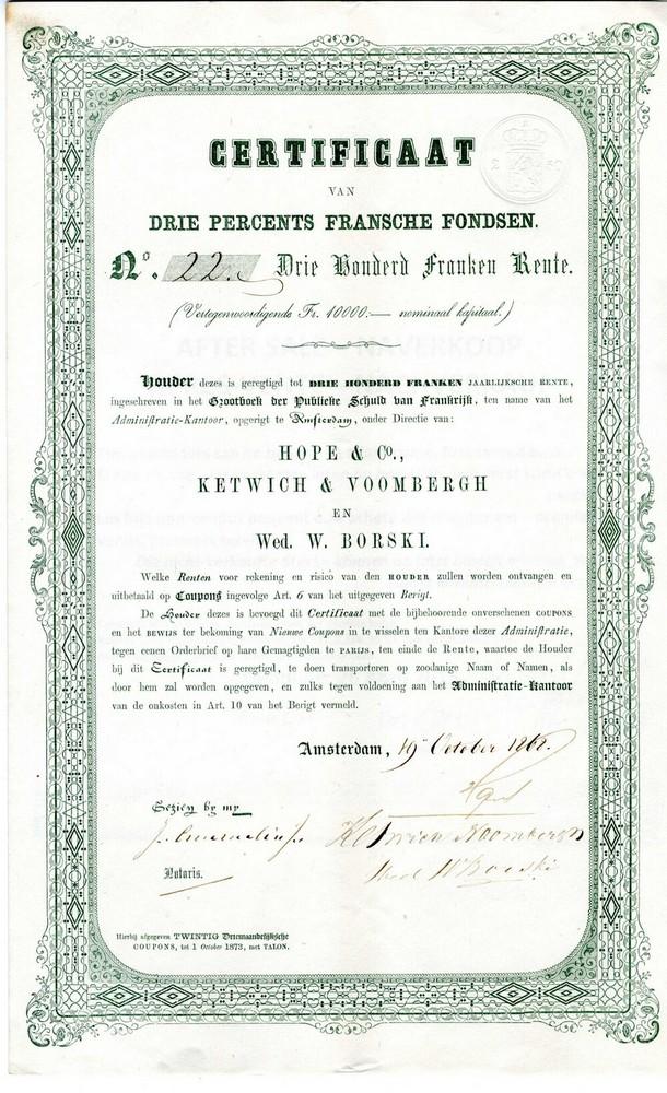 Hope & Co., Ketwich & Voombergh en Wed.W.Borski te Amsterdam