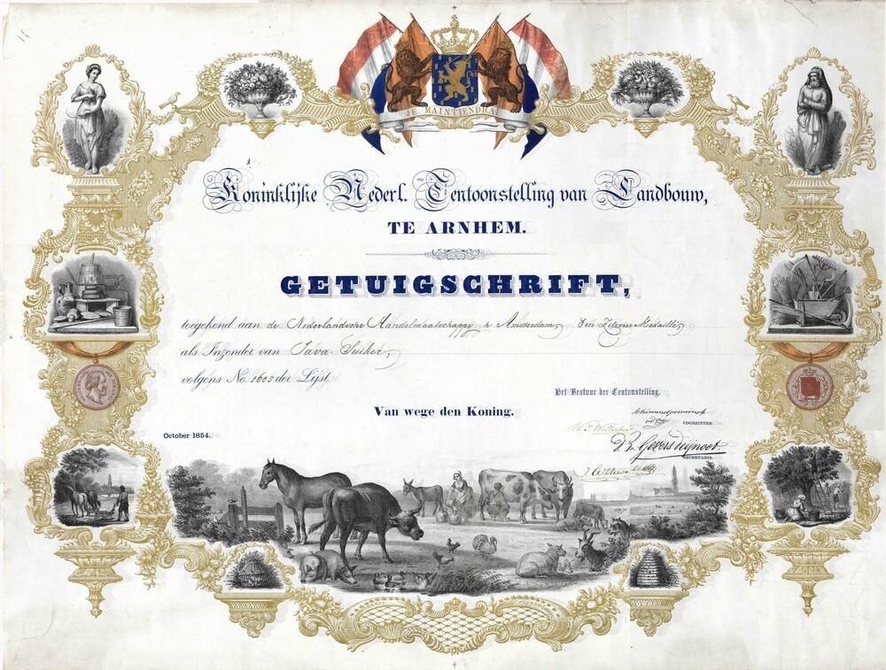 Getuigschrift 'Koninklijke Nederl. Tentoonstelling van Landbouw te Arnhem'