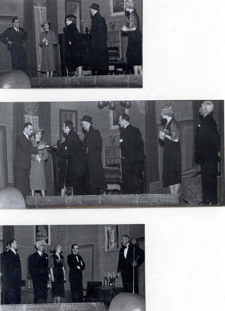 Tooneelvereeniging 'N.H.M.' 10-jarig bestaan feestavond 3 foto's in verslag; cabaret