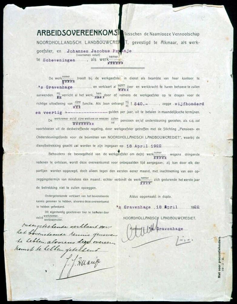 Arbeidsovereenkomst tussen Noordhollandsch Landbouwcrediet en Johannes Jacobus Fraanje