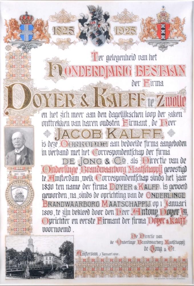 Oorkonde: Ter gelegenheid van het 100-jarig bestaan van de Firma Doyer & Kalff te Zwolle