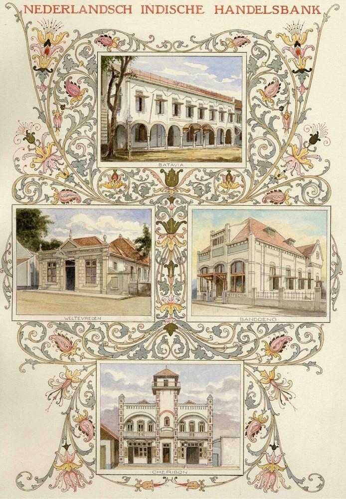 Album met tekeningen van de vestigingen van de Nederlandsch-Indische Handelsbank