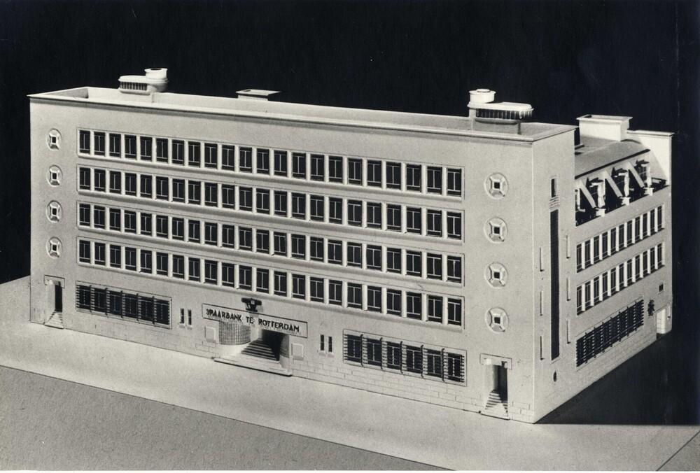 Maquette van het hoofdkantoor van de Spaarbank te Rotterdam aan de Botersloot