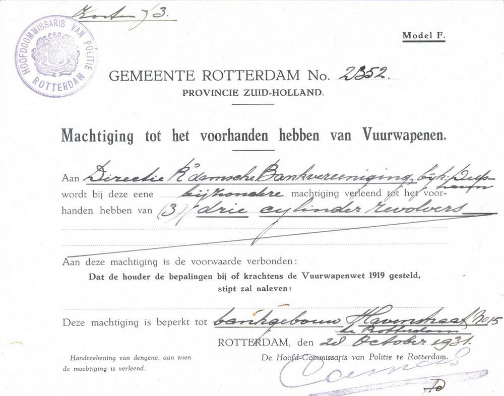 Wapenvergunning voor 3 revolvers voor bankgebouw Havenstraat 15 in Rotterdam