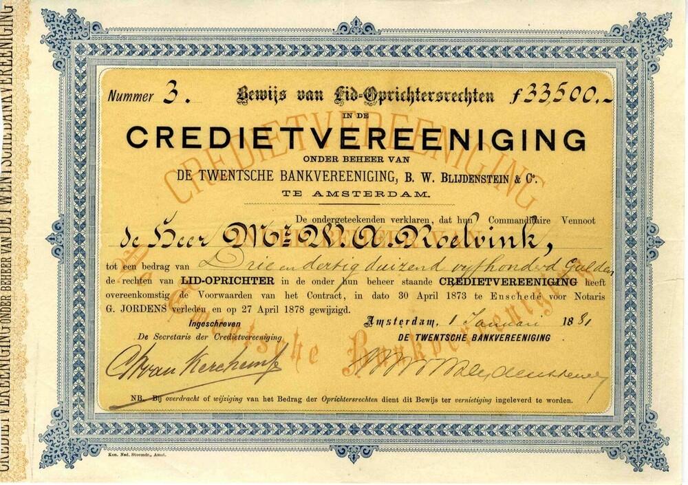 Credietvereeniging onder beheer van De Twentsche Bankvereeniging, B.W. Blijdenstein & Co
