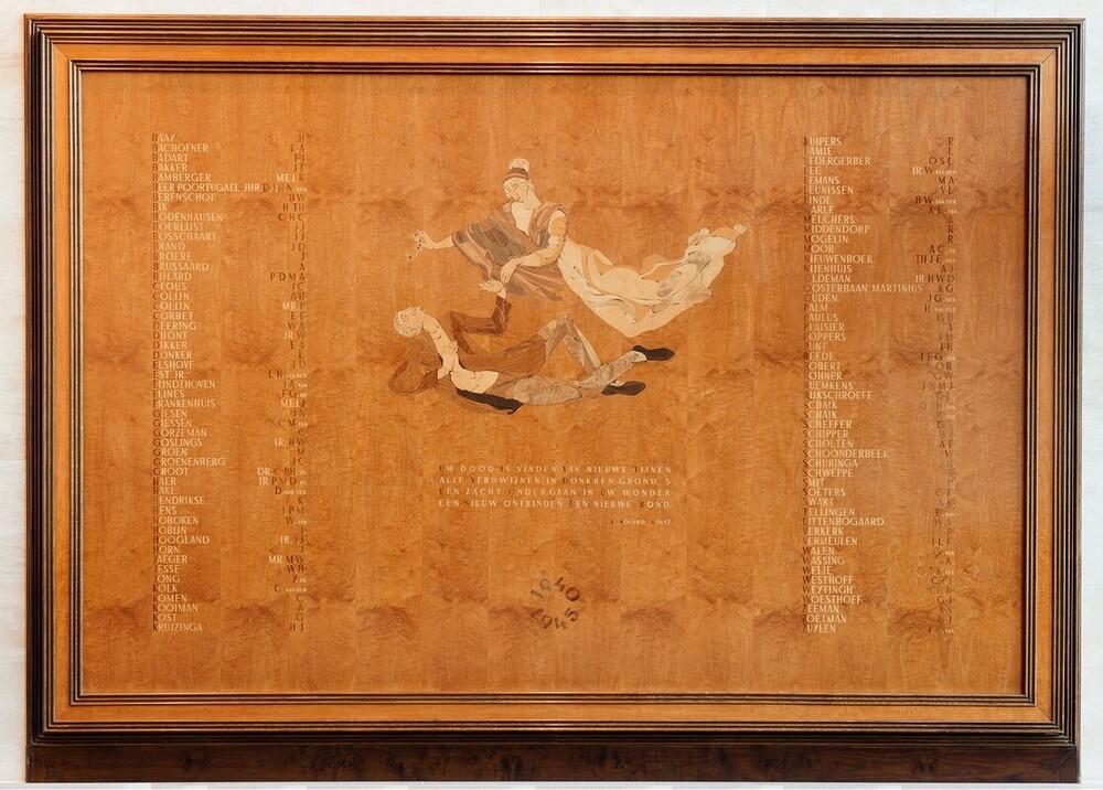 Gedenkbord, plaquette. Gedenkteken WO II