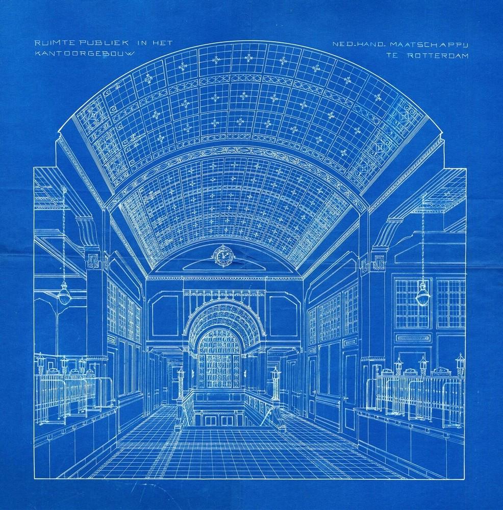 Blauwdruk publiekshal Nederlandsche Handel-Maatschappij, Zuidblaak 72-74, Rotterdam,