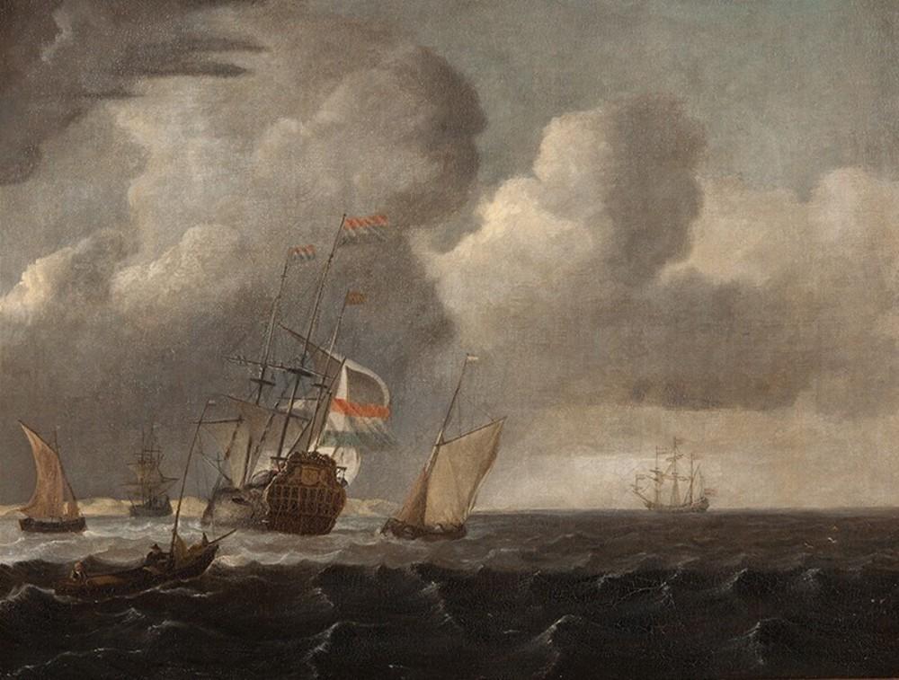Het arriveren van het schip de Katendijke in 1703 in de haven van Amsterdam. Zeegezicht
