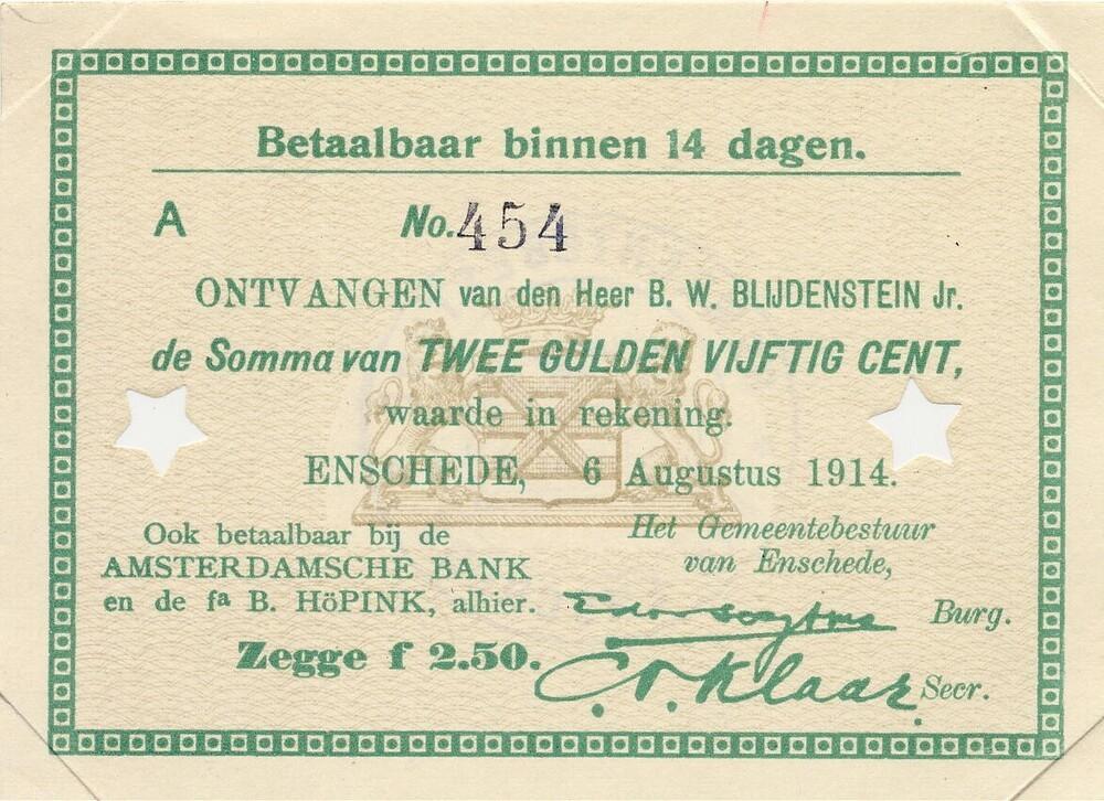 Noodgeld Gemeente Enschede