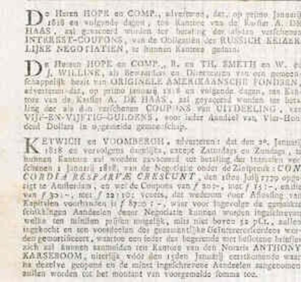 Advertentie in Prijscourant der effecten 1817