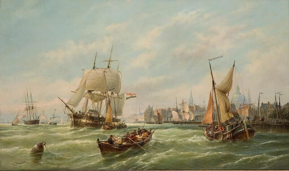 De platbodem 'Willem' in de haven van Amsterdam