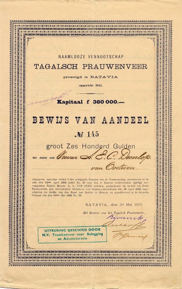 Aandeel Tagalsch Prauwenveer te Batavia
